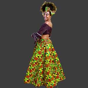 HIBISCUS  African Kente Print Maxi Skirt - Zabba Designs African Clothing Store
