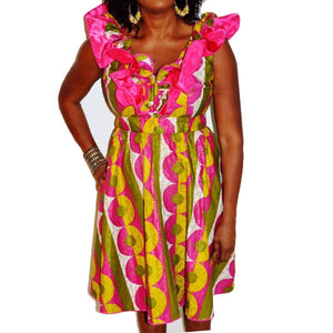 Meani African Print Green And Pink Dress
