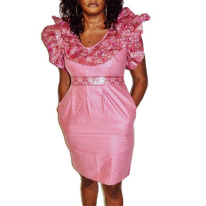 Bubble Gum  Pink Africa Short Dress - Zabba Designs African Clothing Store