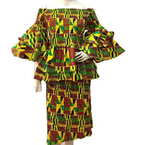 Gaga Kente African Print Midi Skirt Set - Zabba Designs African Clothing Store