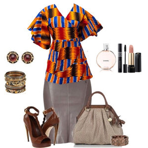 Flash Orange Kente African Print Wrap Blouse - Zabba Designs African Clothing Store