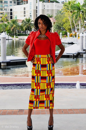 Ansu African Kente Print Pencil Skirt - Zabba Designs African Clothing Store