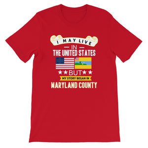 I May Live In The United States But My Story Began In Maryland County Flag T-Shirt - Zabba Designs African Clothing Store
