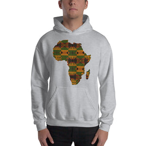 Unisex Map Of Africa Kente Print  Hooded Sweatshirt - Zabba Designs African Clothing Store