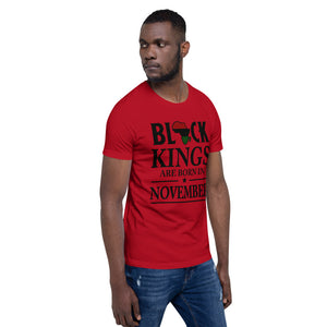 Black King Are Born In November Short-Sleeve T-Shirt - Zabba Designs African Clothing Store