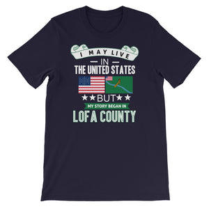 I May Live In The United States But My Story Began In Lofa County Flag T-Shirt - Zabba Designs African Clothing Store