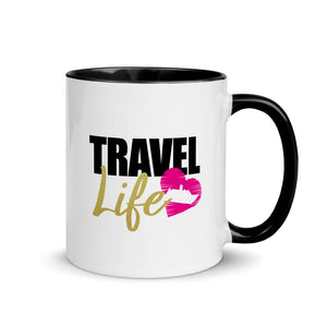 Travel Life Mug with Black Color Inside - Zabba Designs African Clothing Store