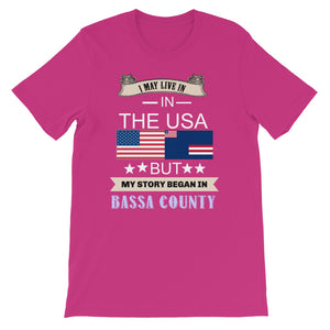 I Live In The USA But My Story Began In Bassa County  T-Shirt - Zabba Designs African Clothing Store