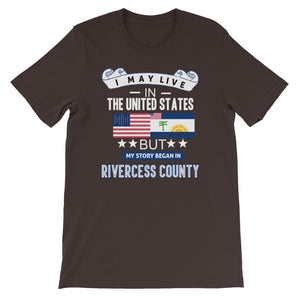 I May Live In The United States But My Story Began In Rivercess County Flag T-Shirt - Zabba Designs African Clothing Store