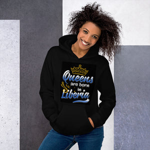 Queens Are Born In Liberia Unisex Hoodie - Zabba Designs African Clothing Store