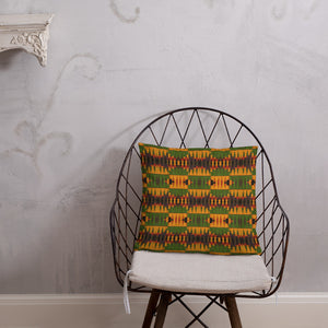 Yellow Kente Print Basic Pillow - Zabba Designs African Clothing Store