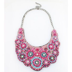 Taffy Beaded Statement Bib Necklace - Zabba Designs African Clothing Store
