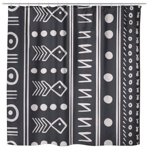 African Print Shower Curtain Black And White