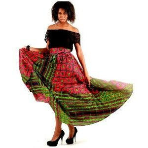 DREAMY Red African Print Maxi Skirt - Zabba Designs African Clothing Store