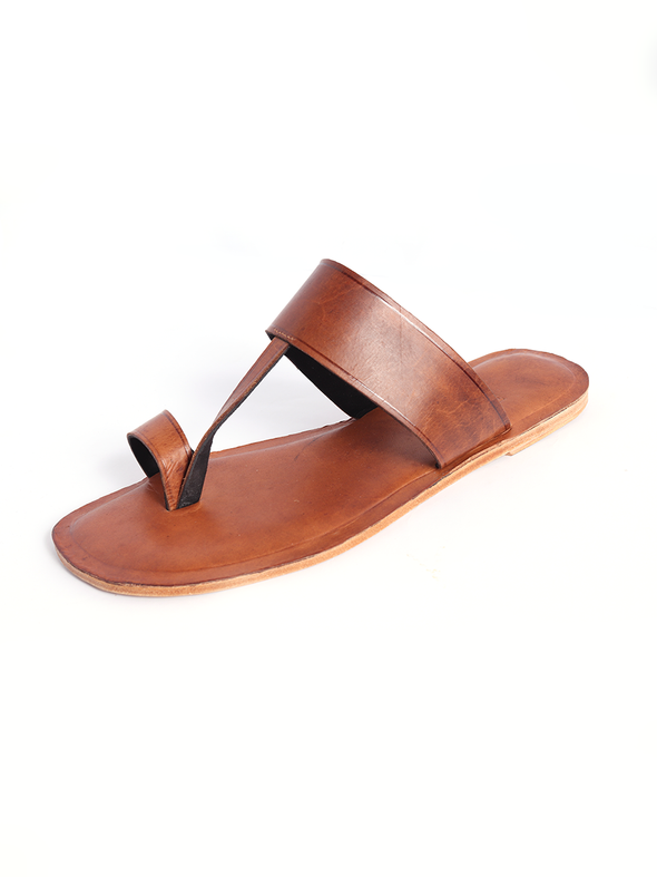 brown pure leather kolapuri