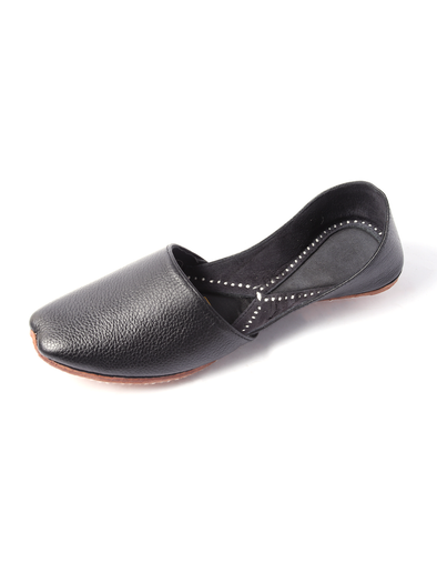 handmade black pure leather shoe