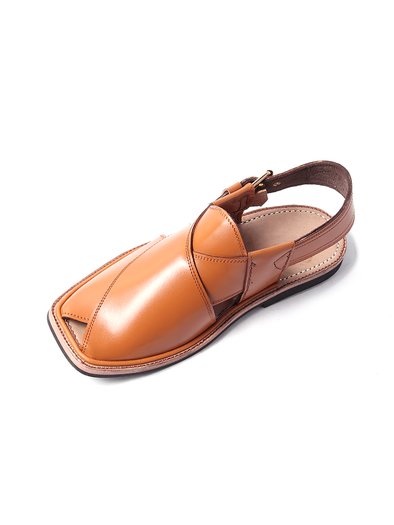 brown pure leather handmade peshawari shoe