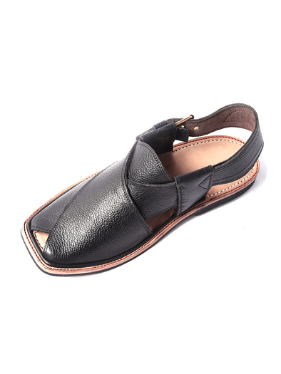 black leather handmade peshawari shoe
