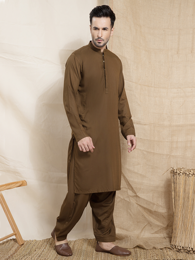olive green wrinkle free men stitched suit