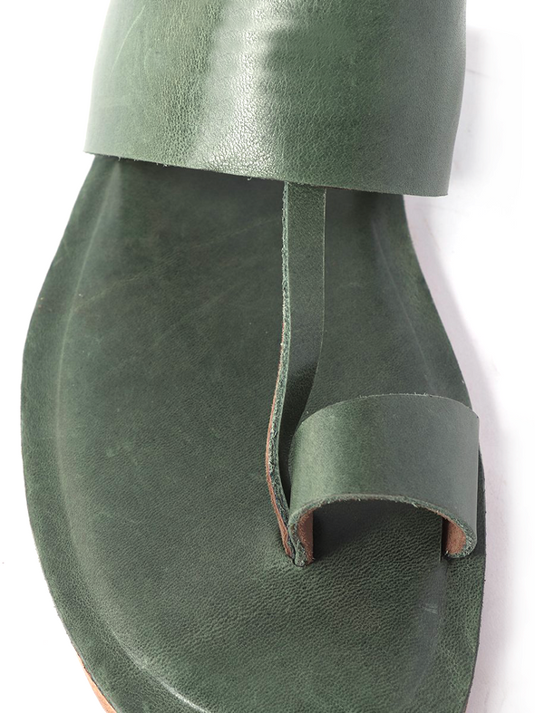green pure leather handmade kolapuri