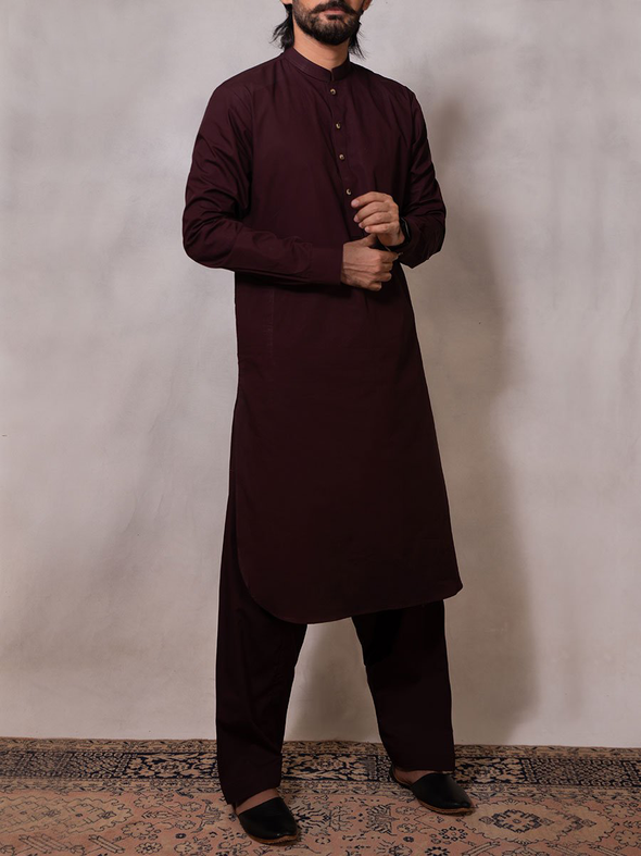 burgundy cotton men stitched suit