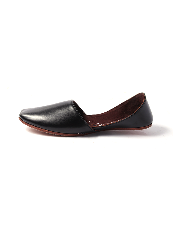 black leather handmade khusa for men