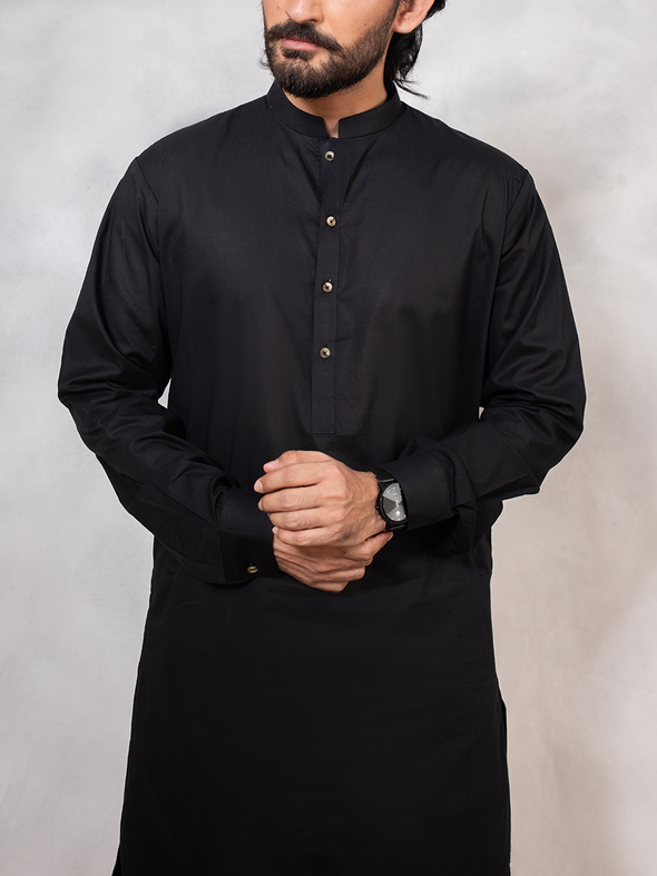 black cotton men stitched suit