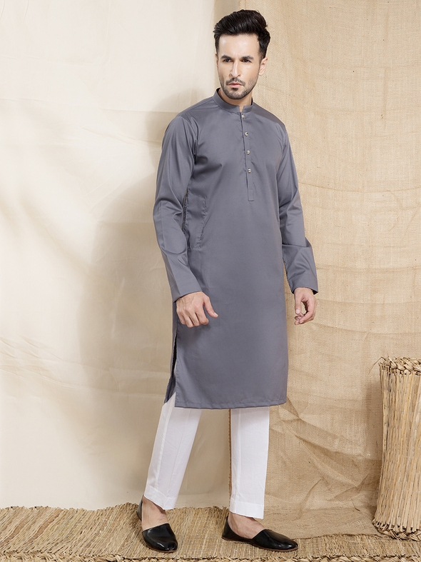 grey cotton plain kurta for men