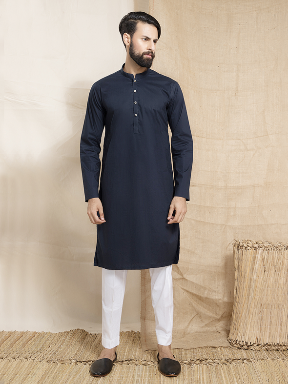 dark blue cotton plain kurta for men