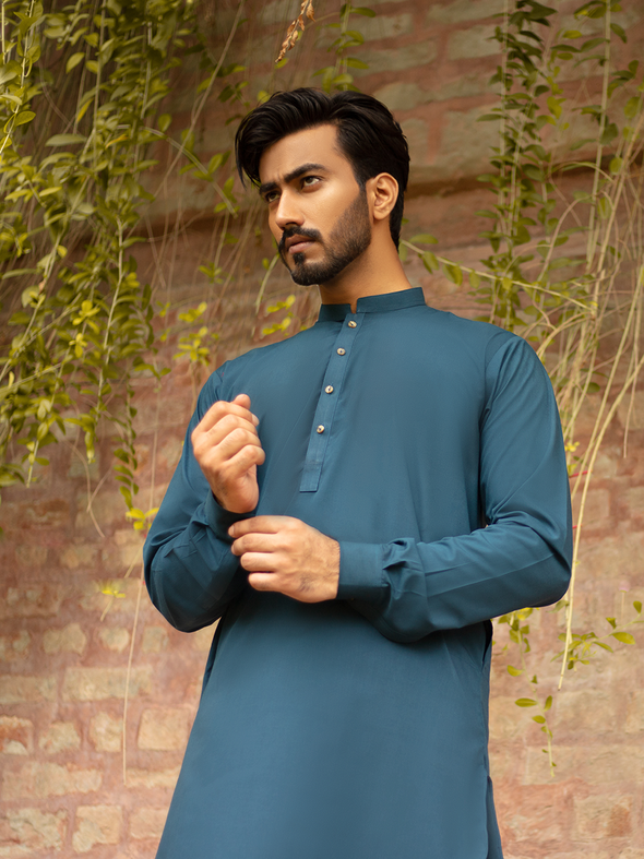 teal cotton men's kurta trouser