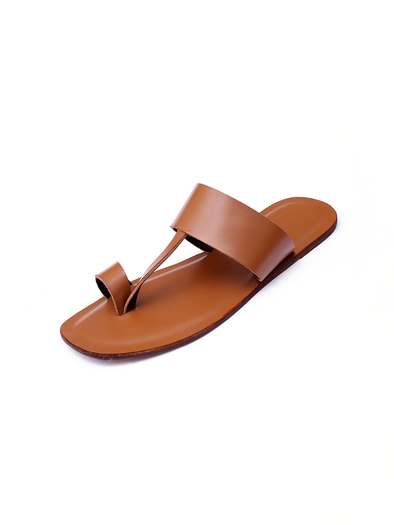 brown leather handmade kolapuri