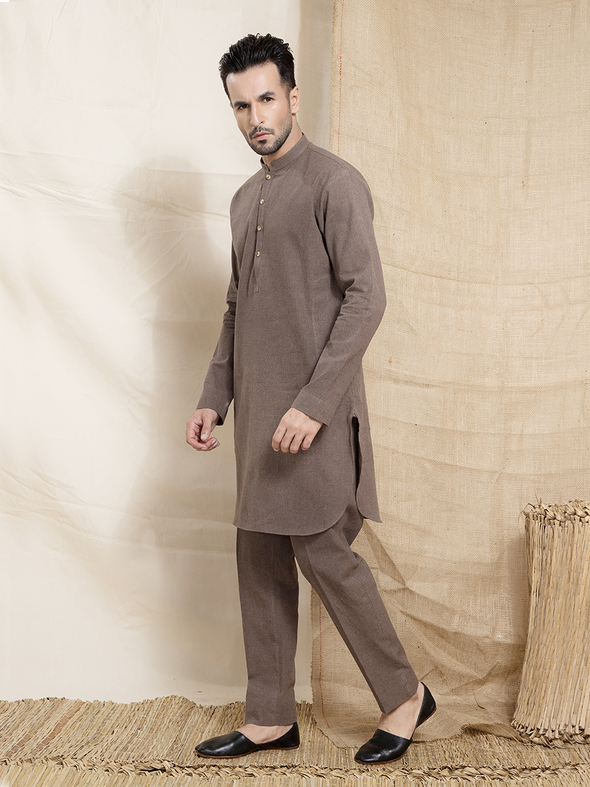 light brown men's kurta trouser