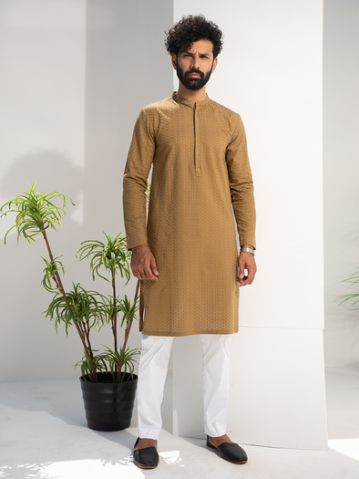 mustard cotton embroidered kurta for men