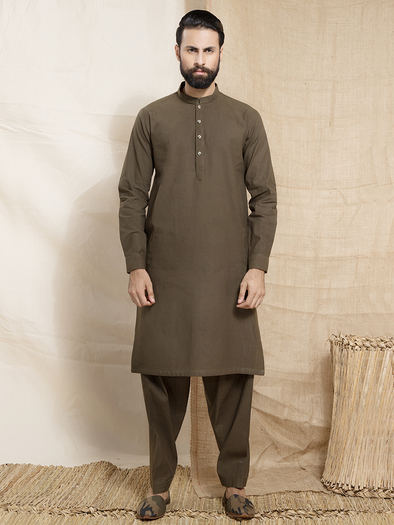 green khaddi khaddar men stitched suit