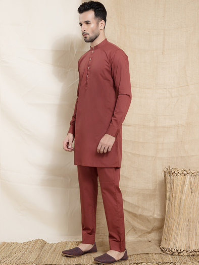 cherry red men's kurta trouser