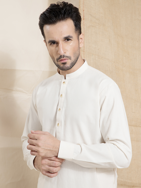 white cotton karandi men stitched suit