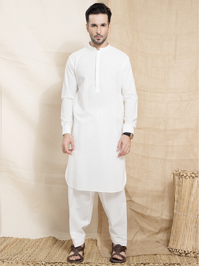 white viscous khaddar men stitched suit