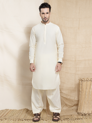 light cream viscous khaddar men stitched suit