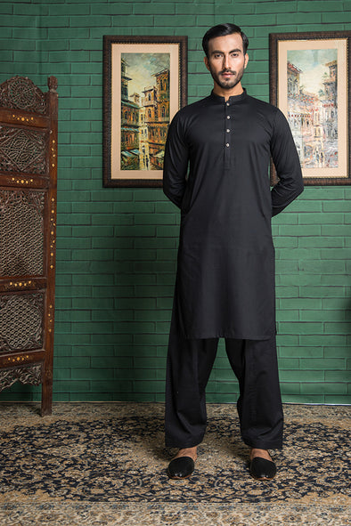 black cotton stitched men suit