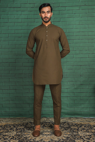 olive cotton trouser kurta for men