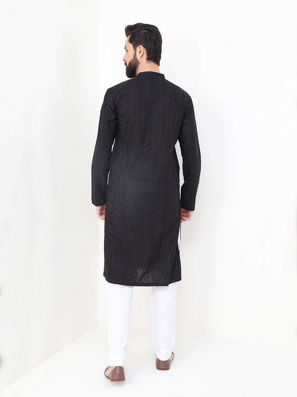 black cotton embroidered kurta for men
