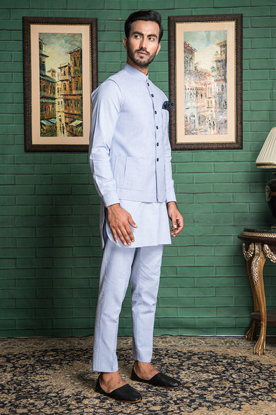 sky blue trouser kurta for men