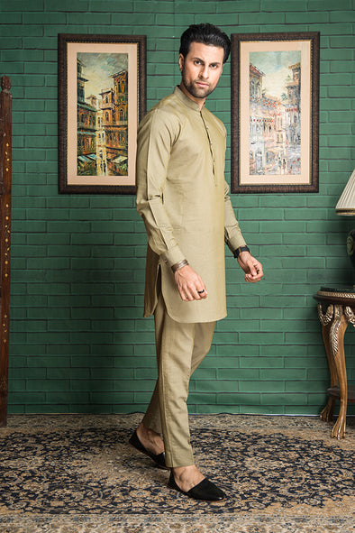 green denim kurta trouser suit