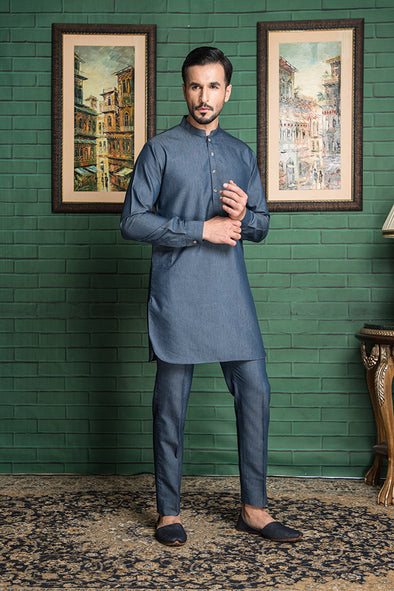 blue denim kurta trouser suit