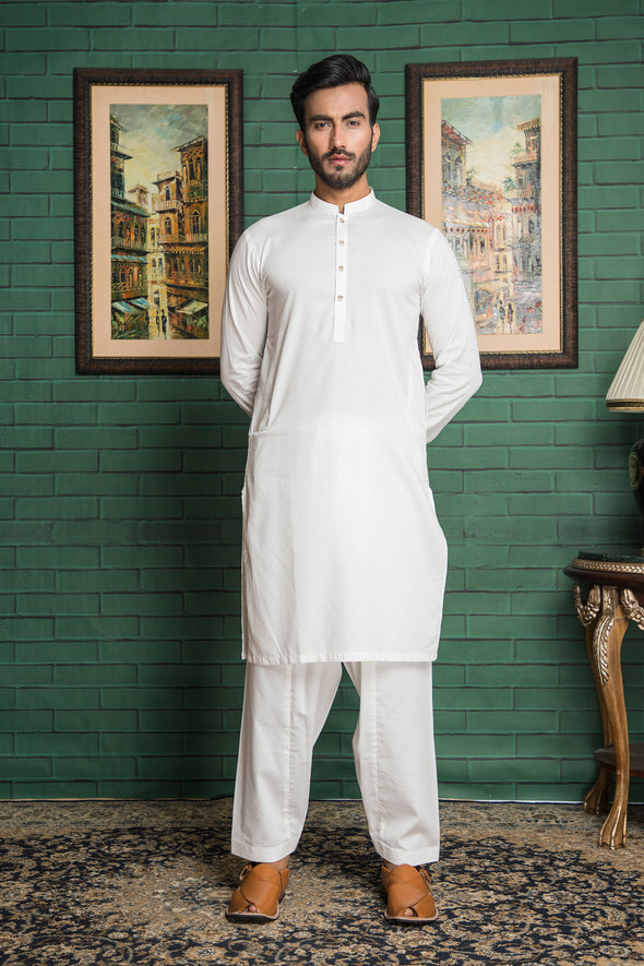 white giza cotton kurta shalwar