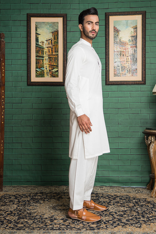 white cotton kameez shalwar