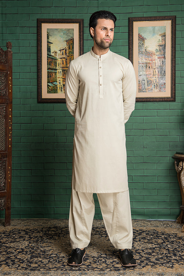 off white kameez shalwar cotton