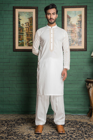 white embroidered kurta shalwar