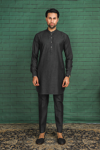 denim black kurta trouser