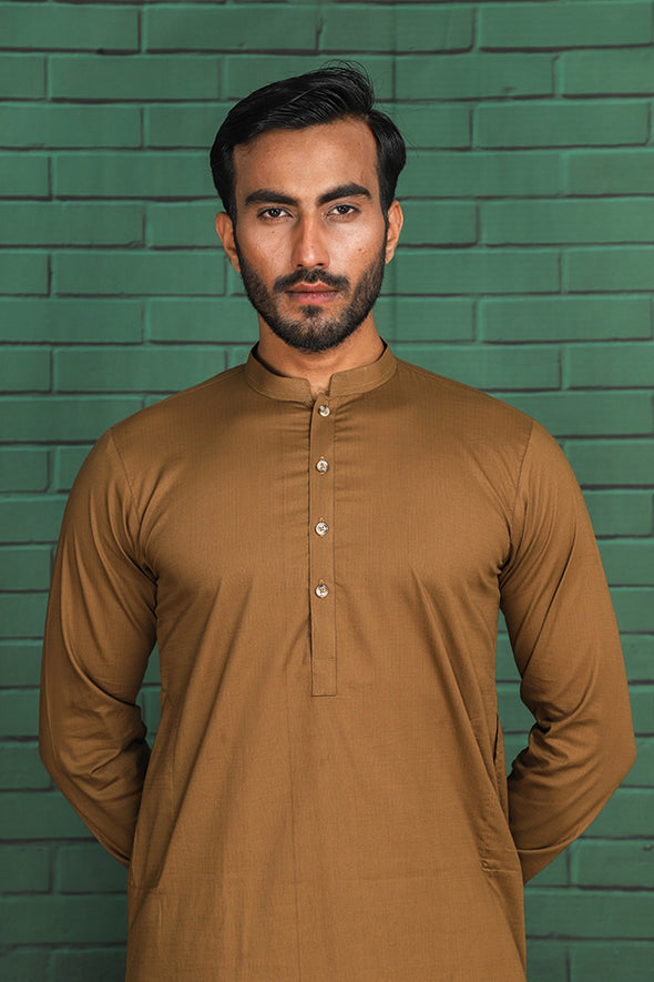 olive giza cotton kameez shalwar for men